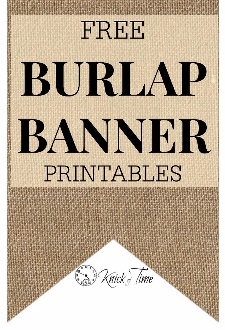 burlap banner printables - Via Knickoftime blog