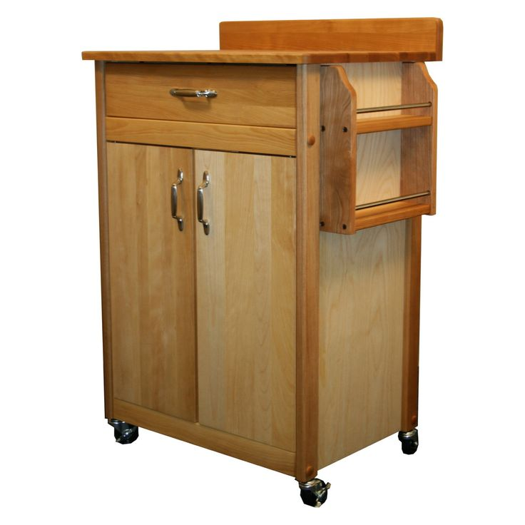 Catskill Butcher Block Cart with Flat Doors and Backsplash - 51524