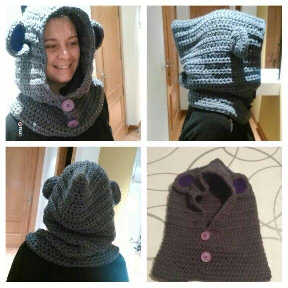 Cuello con capucha crochet