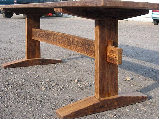 A trestle table with some lighter Shaker type stylings. It is much thinner and finer than much of our work, but it still uses some great old reclaimed wood.