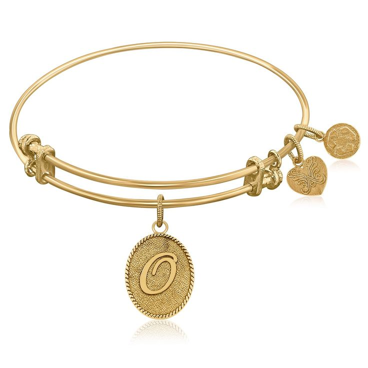 Expandable Bangle in Yellow Tone Brass with Initial O Symbol