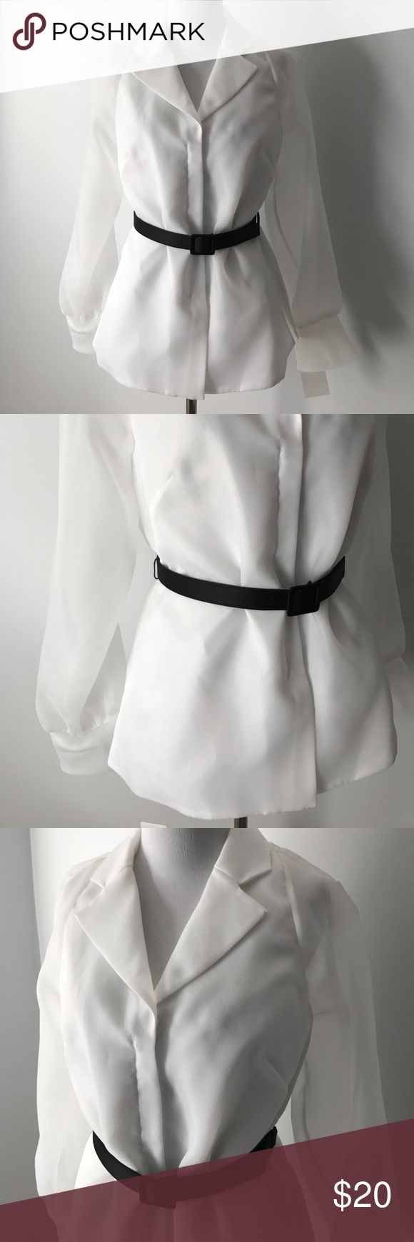 Alex Evenings White Blouse with Black Belt Classic dressy blouse to pair with a skirt or slacks • 100% polyester • zip front with Alex Evenings Tops Blouses
