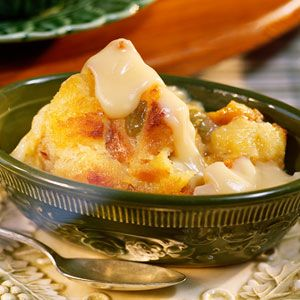 Bread Pudding with Vanilla Sauce | MyRecipes.com ~ A New Orleans specialty, this simple but ethereal dessert is nothing short of spectacular. It takes just minutes to put together, and bakes while everyone enjoys the main meal.