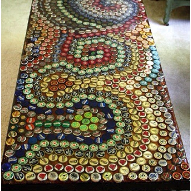 1000 images about bottle cap crafts on pinterest bottle for How to make a table out of bottle caps