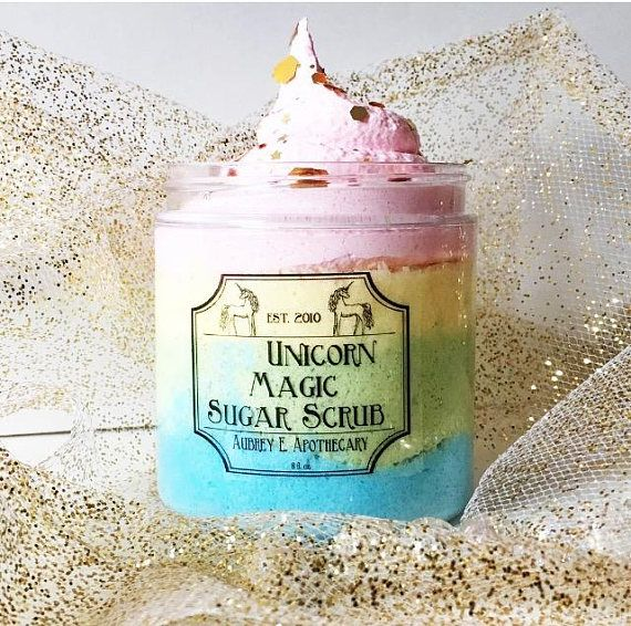 ●●●●●●●●●●●●●●●●●Details●●●●●●●●●●●●●●●● Make your skin super soft like a Unicorn! This a limited edition, Unicorn Sugar Scrub. Whipped up with a generous dose of skin loving vegetable glycerin, which is a humectant, drawing moisture to your skin, allowing it to remain hydrated and