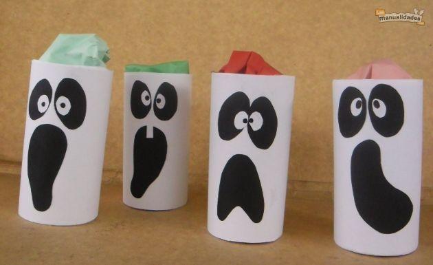 Reciclaje-para-halloween. Fantasmas-sorpresa con rollos del papel higiénico