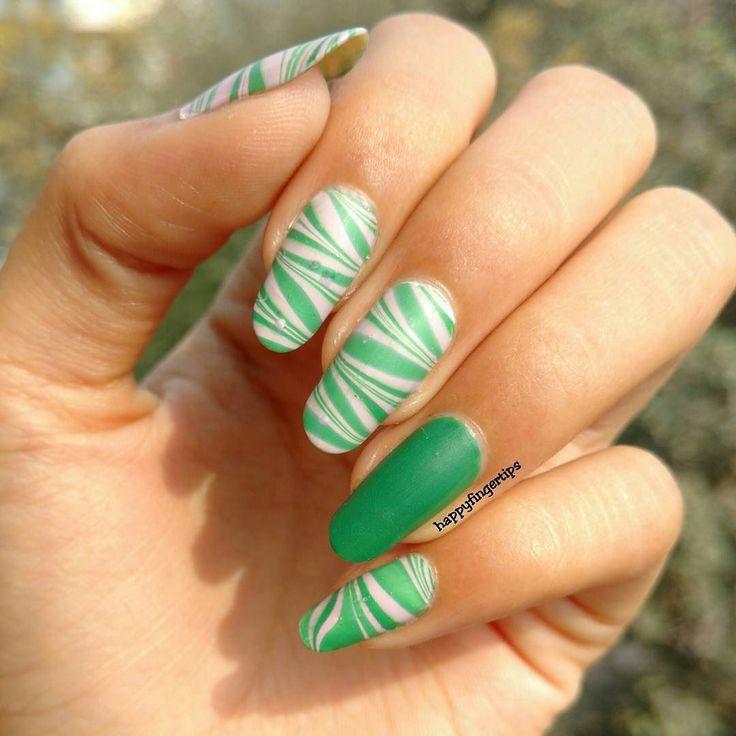Matte Watermarble Nails #nailart #happyfingertips #nailartclub #nailswag #nailstagram #nailfie #notd #potd #nailartwow #nailartoohlala #nailsinspiration #nailitdaily #nailitmag #scra2ch #watermarblenails #greennails by happyfingertips