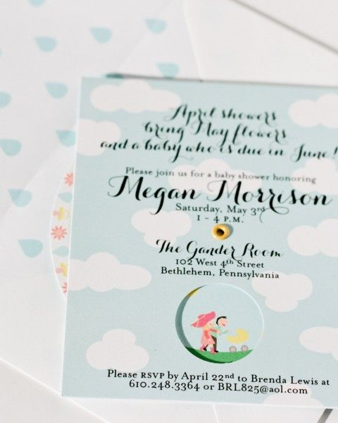 April Showers Bring May Flowers spinning baby shower invitation | Aqua Juel Design