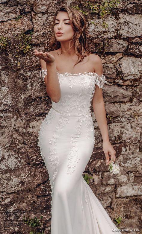 ce7fbaca8cc0 stephanie allin 2019 bridal off the shoulder straight across neckline  heavily embellished bodice elegant fit and flare wedding dress mid back  chapel train ...