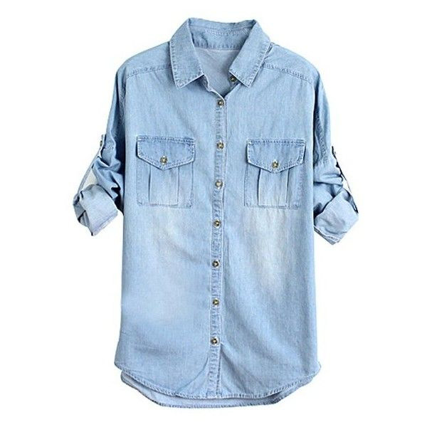 Washed Batwing Sleeves Denim Shirts ($15) ❤ liked on Polyvore