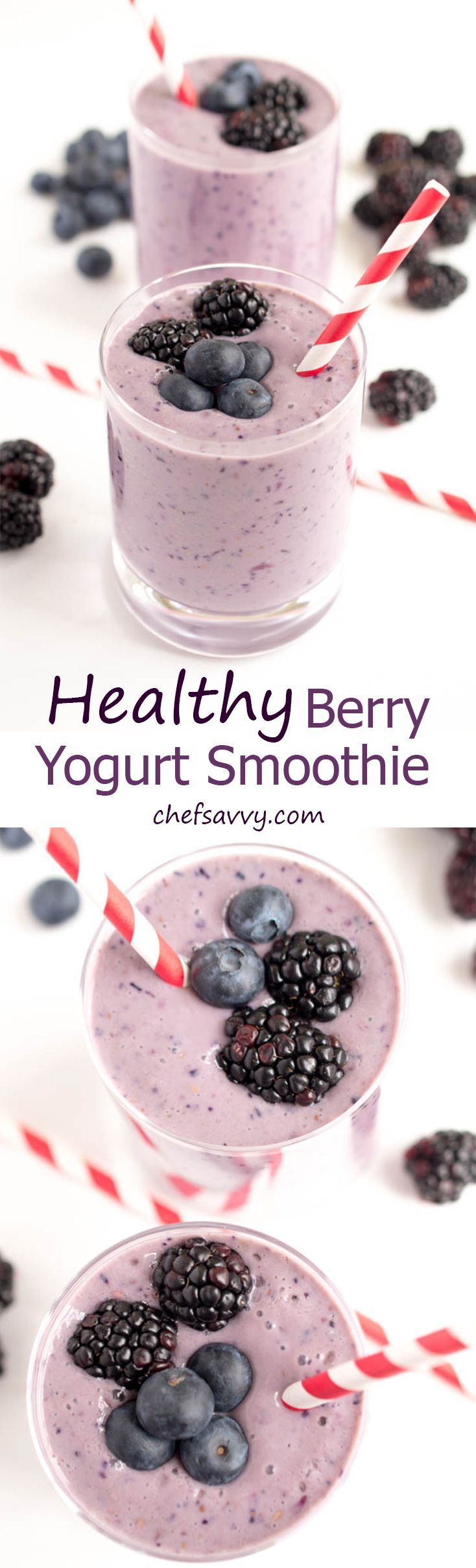 A super simple 5 ingredient Gluten Free Healthy Berry Yogurt Smoothie. Protein packed to keep you full throughout the day. A perfect on the go breakfast! (I use coconut milk - allergy free)