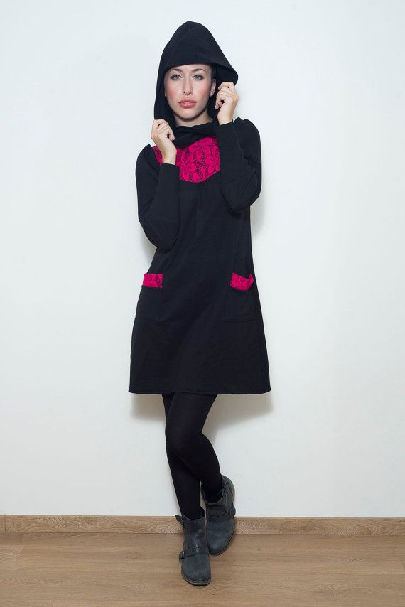 Black Sweater Dress// Fuchsia Lace Detail// Hoodie// S.M.L.