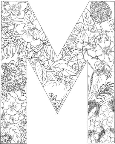letter m coloring page from english alphabet with plants category select from 20946 printable crafts