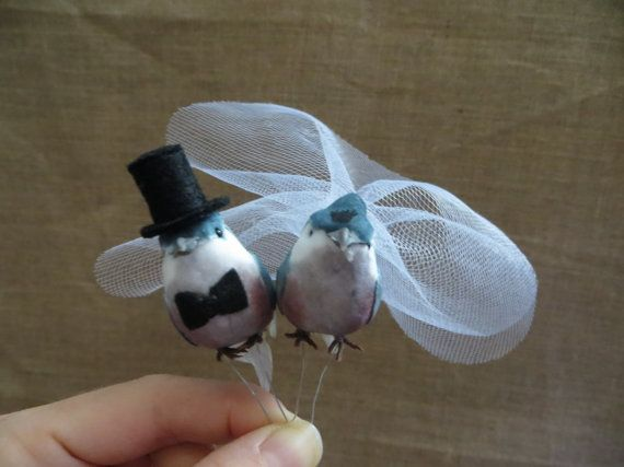 Baby Blue Love Bird Wedding Cake Topper by TheHauteBoxBoutique, $15.95