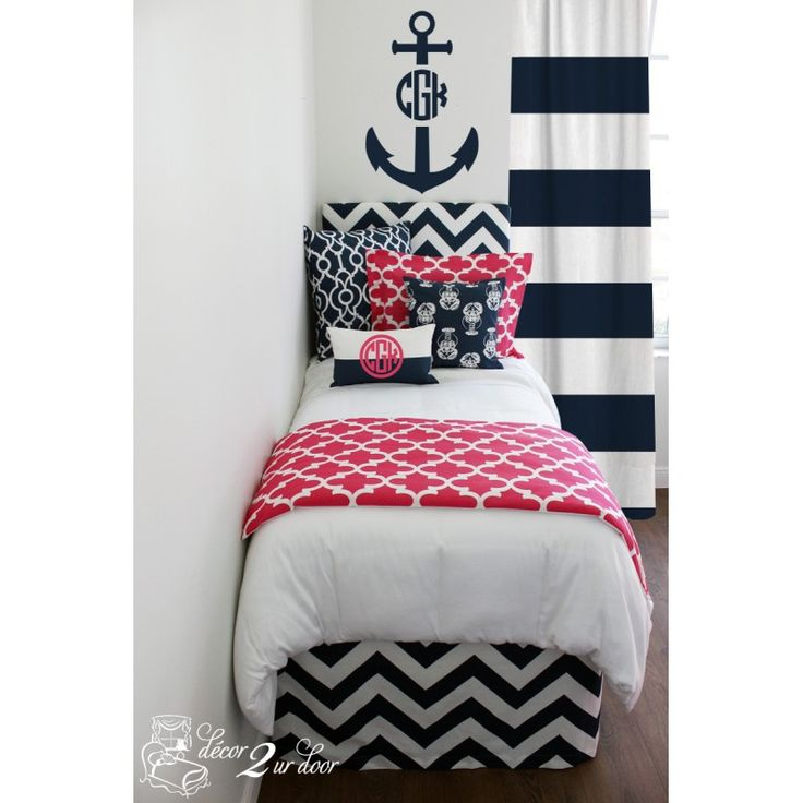 Pink & Navy Nautical Designer Dorm Bedding Set ~ 053605_Nautical Dorm Room Ideas