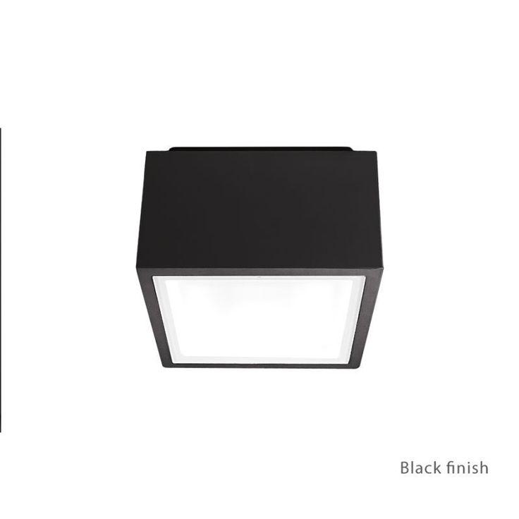 "Modern Forms FM-W9200 Bloc 1 Light 6"" Wide LED Outdoor Flush Mount Ceiling Fixtu Black Outdoor Lighting Ceiling Fixtures Flush Mount"