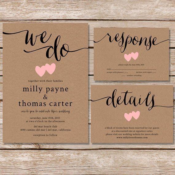 Rustic Wedding Invitation Kraft Paper Invite Set