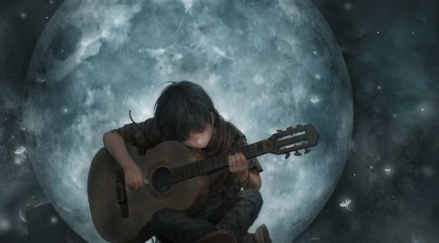 Little Boy On Full Moon Night Playing Guitar Art Wallpaper Hd Artist 4k Wallpapers Images Photos And Background Anime Scenery Wallpaper Anime Scenery Guitar Art