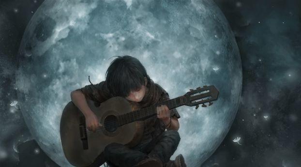 Little Boy On Full Moon Night Playing Guitar Art Wallpaper H