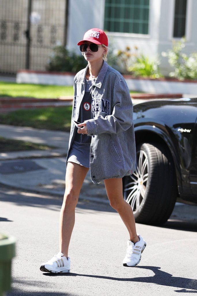 3270d113c01 Hailey Baldwin Steps Out In LA Wearing Supreme Jacket