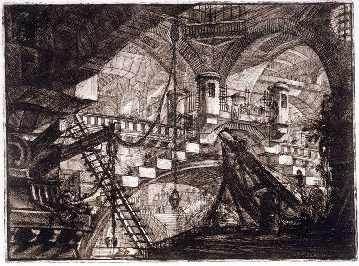 """""""Sueños de Talita: La llevaban a una exposición de pintura en un inmenso palacio en ruinas, y los cuadros colgaban a alturas vertiginosas, como si alguien hubiera convertido en museo las prisiones de Piranesi."""" Piranesi."""