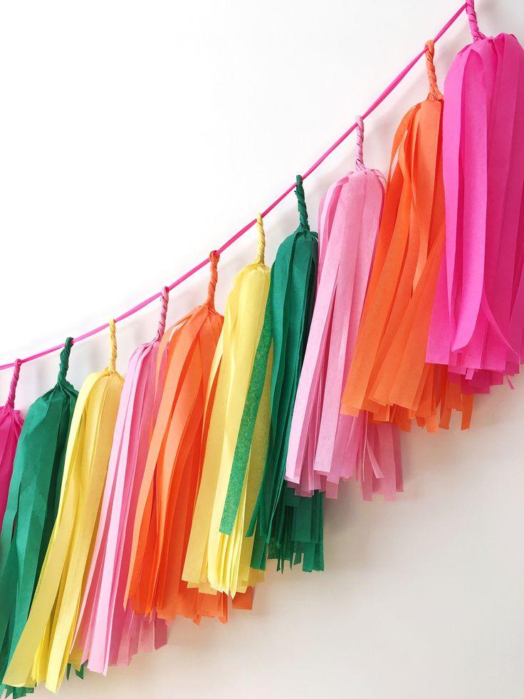Тассел гирлянда для декора Фламинго вечеринки, тропический декор