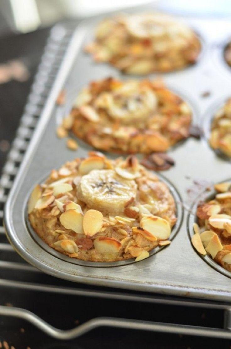 Banana Almond Baked Oatmeal Cups - 12 Baked Oatmeals You Should Be Eating   GleamItUp