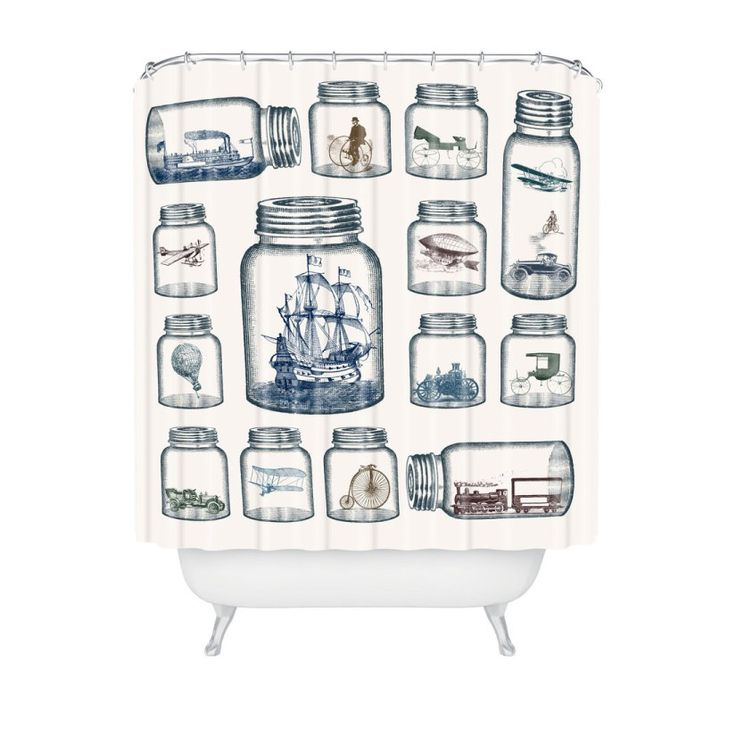 Time Travel in a Jar Shower Curtain  #vintage #bathrooms #decor