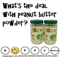 FOOD STORAGE: peanut butter and peanut butter powder. What's the deal with peanut butter powder? How much peanut butter should you stockpile? The average American eats about three pounds of peanut butter a year! That works out to about three jars. If your family loves peanut butter, consider stockpiling peanut butter powder or about three jars per person! http://happypreppers.com/powder.html