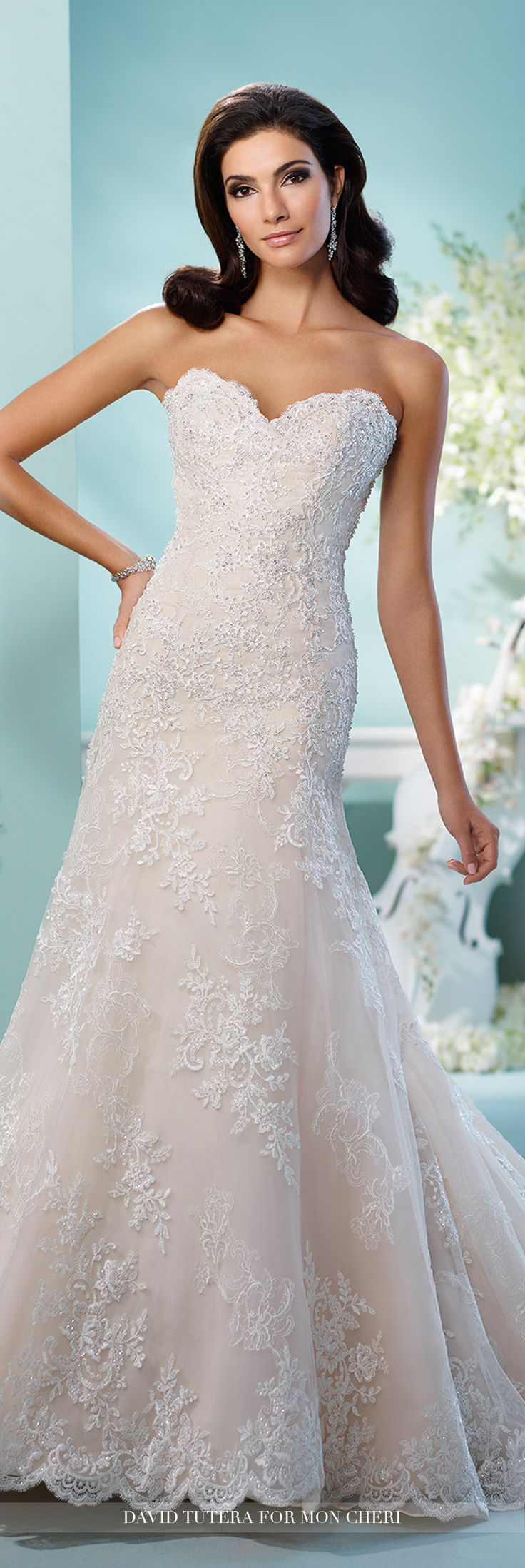 David Tutera for Mon Cheri - 216249 Coventina - Strapless tulle and organza over satin fit and flare dress with hand-beaded embroidered lace, scalloped sweetheart neckline, scalloped hemline, chapel length train, detachable spaghetti and halter straps included.Sizes: 0 - 20Colors: Stone/Alabaster Ivory, Ivory, White
