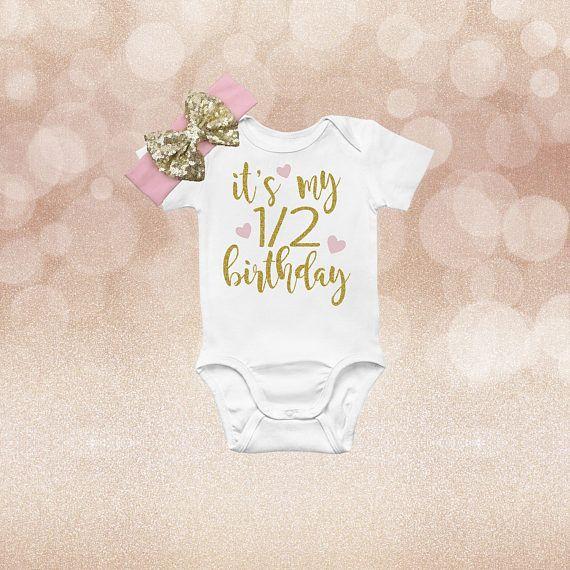 84d6e9858 Half Birthday Onesie, Girl Half Birthday Outfit, Half Birthday Outfit Girl, Half  Birthday