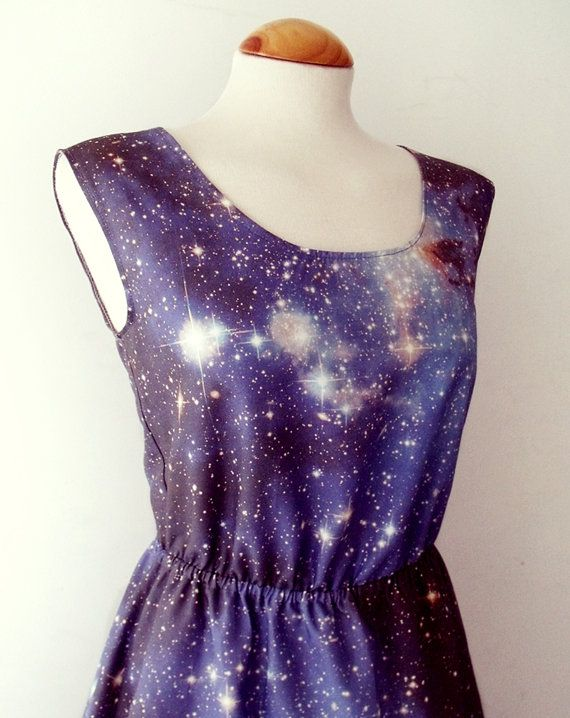 Yes! Definitely a front runner for the bridesmaid options  Galaxy dress cosmic nebula grunge dress blue grey by luminia