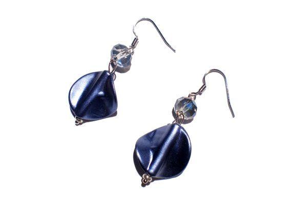 Handmade Dangle Earrings Metallic Blue Dangle by twolittlefairies