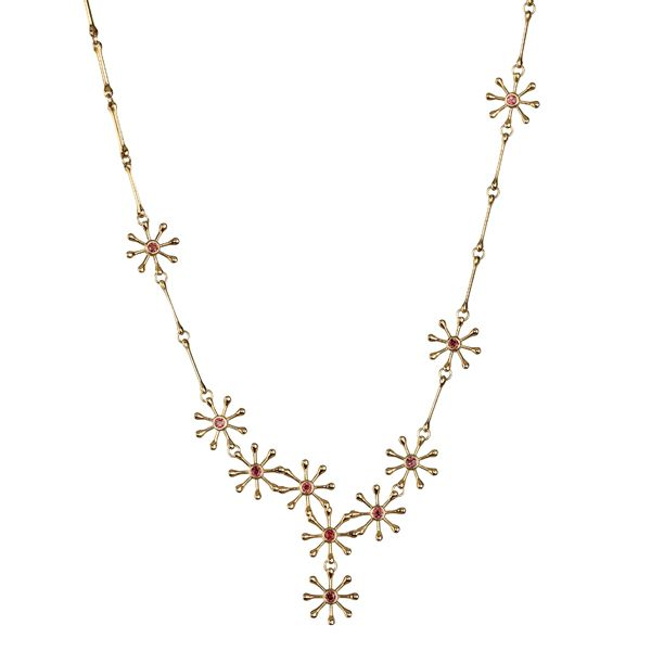 POLARIS NECKLACE  Designer: Kirsti Doukas, material: 18 carat gold, garnet or 18K white gold, Diamond 7 x 0,03 ct W/VS