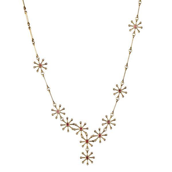POLARIS NECKLACE  Designer: Kirsti Doukas, material: 18 carat gold, garnet or 18K white gold, Diamond 7 x 0,03 ct W/VS
