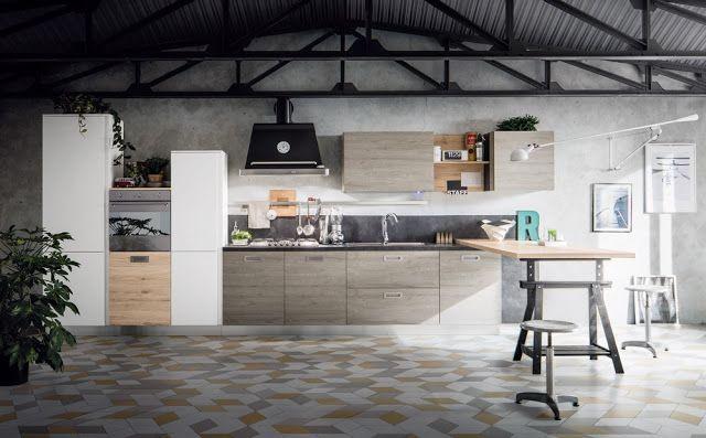 Una cucina stile industriale dal sapore retrò