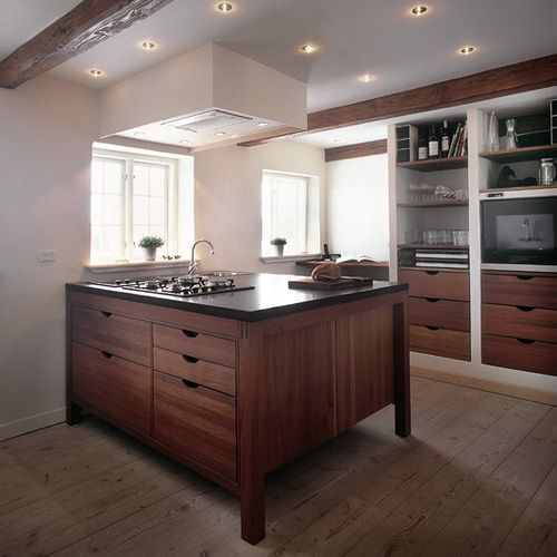 Solid Wood Walnut cabinets | Solid Wood Kitchen Island from Hansen Living | Bathroom & Kitchen ...