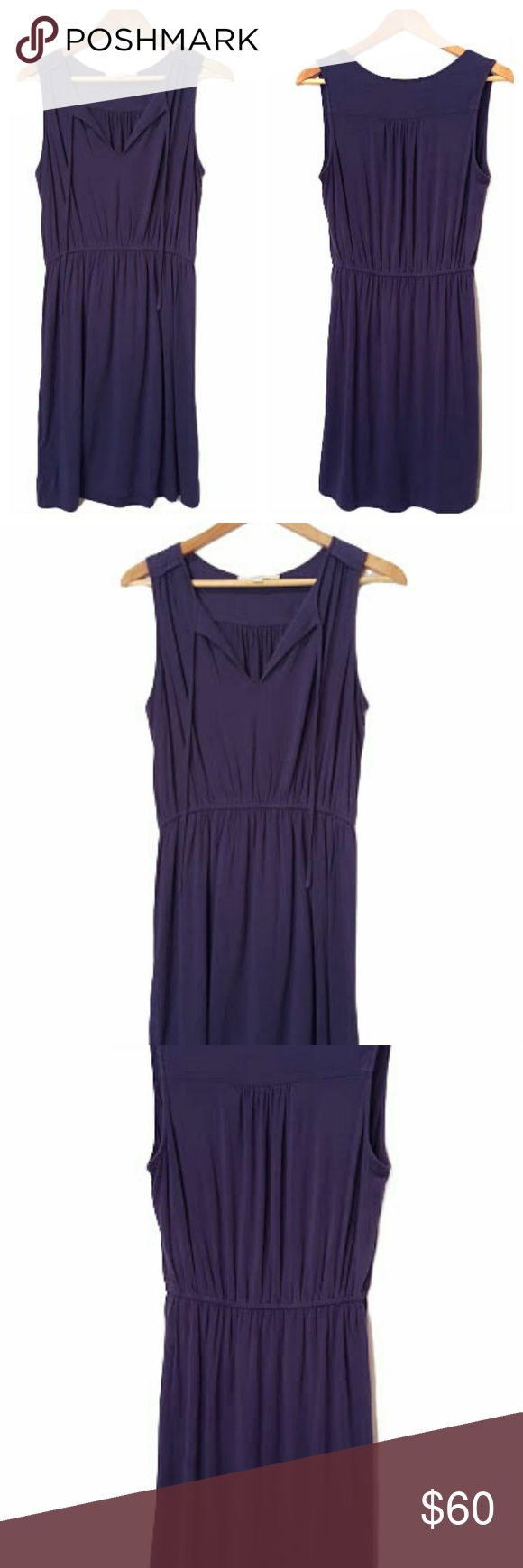 LOFT Casual Dress Purple-Blue Business-casual, comfy-chic LOFT dress. Versatile, flattering, and classic. Beautiful deep blue-purple color. Wear to the office with a fitted blazer and peep toe heels. Or for a comfy-chic weekend, pair with a denim jacket and strappy sandals. Stay warm in the fall by pairing with a vegan leather jacket, tights and boots. Notched v-neck with optional neck tie closure. Comfortable drape fit with an elastic waistband. Perfect condition. Always open to offers and…
