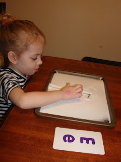 Practice letter writing by using salt.
