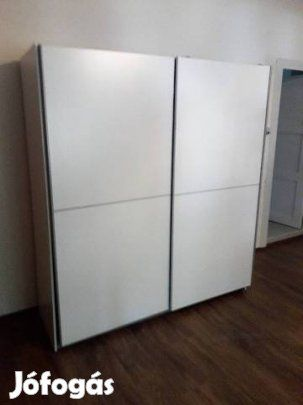 Gardróbszekrény 2 tolóajtóval eladó  fehér színű bútorlapból készült belül  halványszürke polcos-akasztós variálható szekrény mérete  170x60x-190 magas. bd2688da10