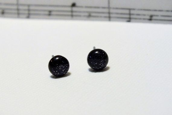 Surgical Steel Blue Goldstone Stud Earrings by harmony5 on Etsy, $8.50Craftyfolk Items