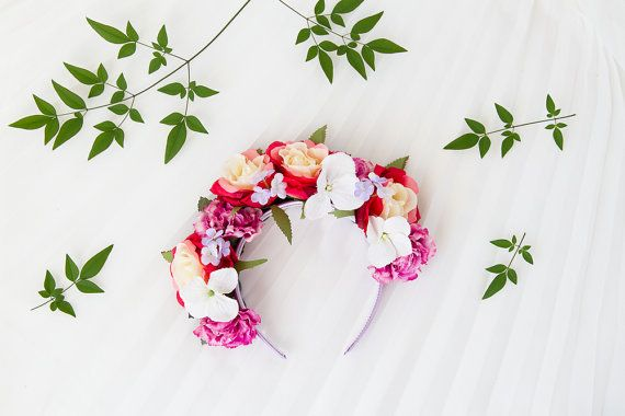 red pink floral crown / rose headpiece flower crown by kisforkani, $69.00