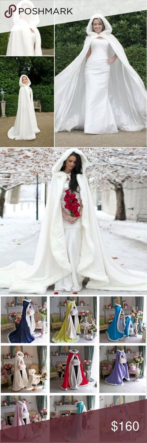 10 color winter wedding dress hooded cloak Cape faux fur Bridals mantle wraps. Great for a winter wedding. Since this is custom made height measurements are required Jackets & Coats Capes