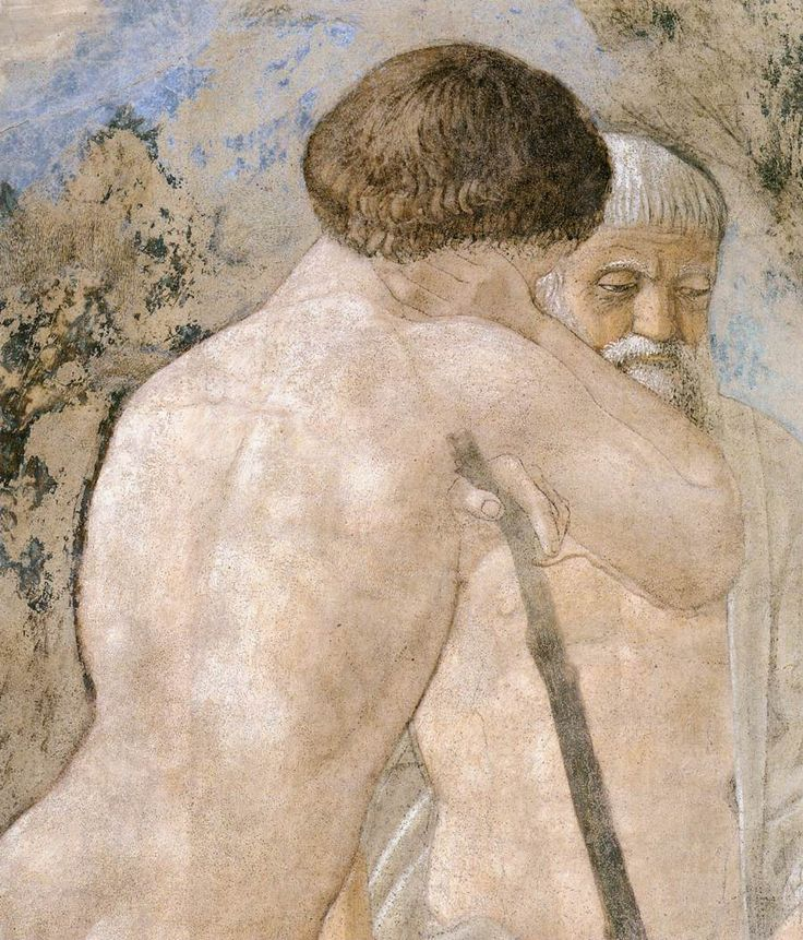 PIERO DELLA FRANCESCA - (1415 - 1492)   The Death of Adam (detail). Fresco. 390 x 747 cm (full painting). San Francesco, Arezzo, Italy.