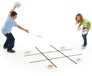 Use chalk or masking tape to make a tic-tac-toe grid on the floor. Mark paper plates with X's and O's and take turns throwing them onto the grid. The first with in 3 a row is the winner! #kids #games