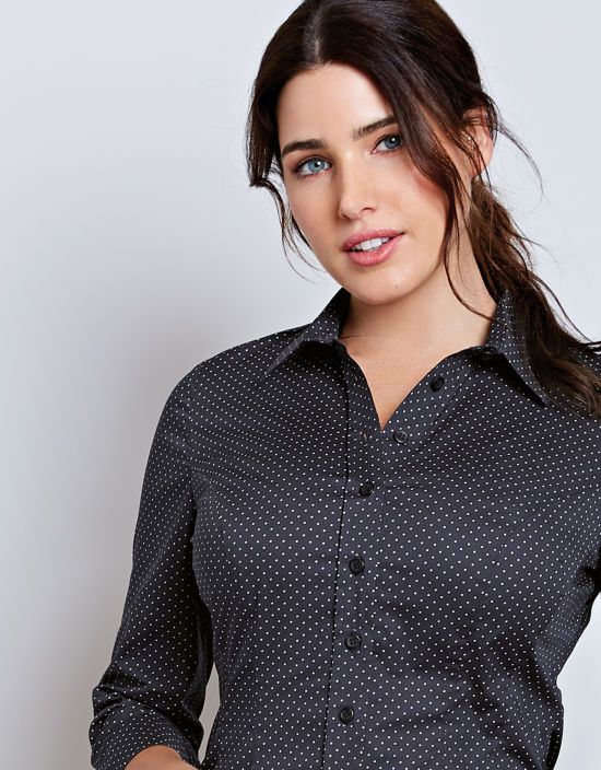 744567f1dd6 Classic Roll Sleeve Shirt in Navy/White Spot by Bravissimo Clothing ...