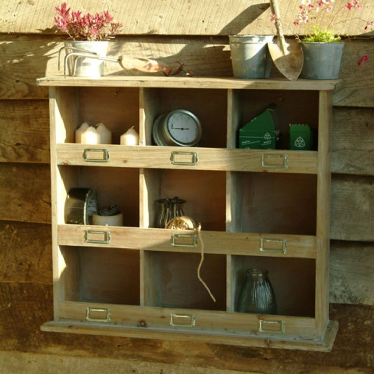 Square Rustic Wooden Pigeon Hole Unit garage  Organize My