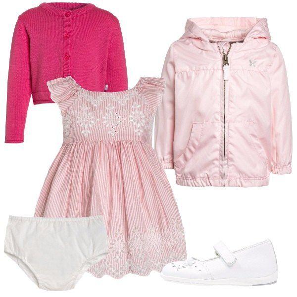 Arriva la primavera e la voglia di colori pastello per le nostre bambine. Abitino a righe con mutandina bianca, cardigan rosa e giacca da mezza stagione. Ballerina con cinturino, bianca.
