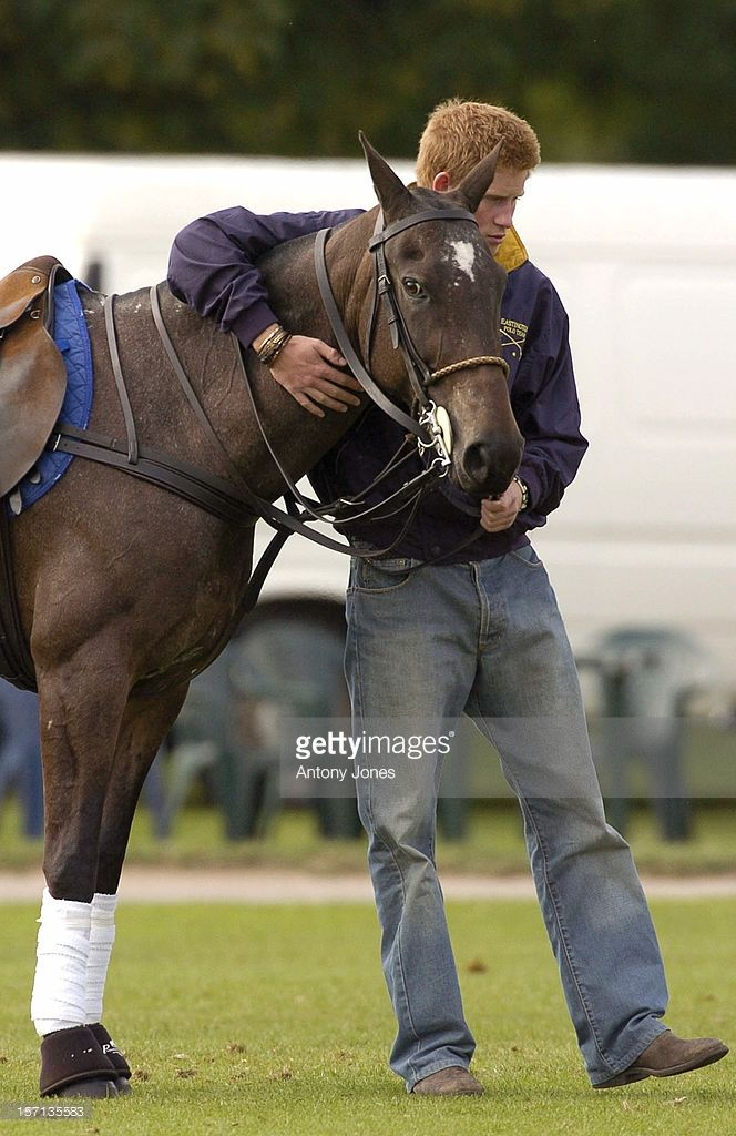Prince Harry Hugs & Kisses A Horse At A Match At The Cirencester Park Polo…