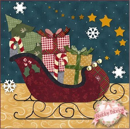 Trineo de Navidad con regalos, árbol de pino y bastones